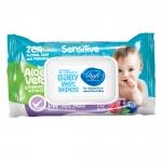 دافی دستمال مرطوب پاک کننده درب دار هفتاد عددی مناسب نوزاد و کودک حساس فاقد اسانس